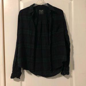 Green navy plaid flannel